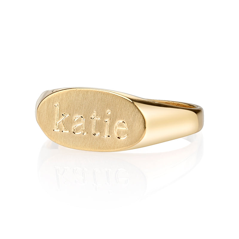 LANA TEXT SIGNET RING
