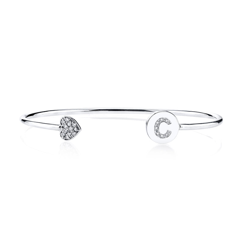 ELLE DIAMOND INITIAL-HEART BANGLE