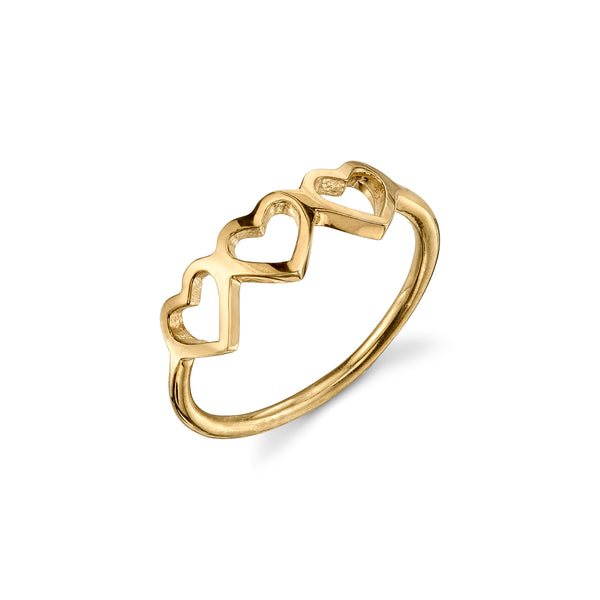 14KT GOLD LOVE COUNT RING - 3 HEARTS