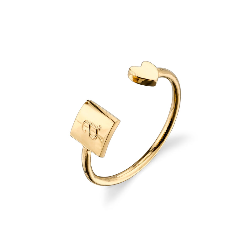 OPEN ROCHA SQUARE-HEART RING