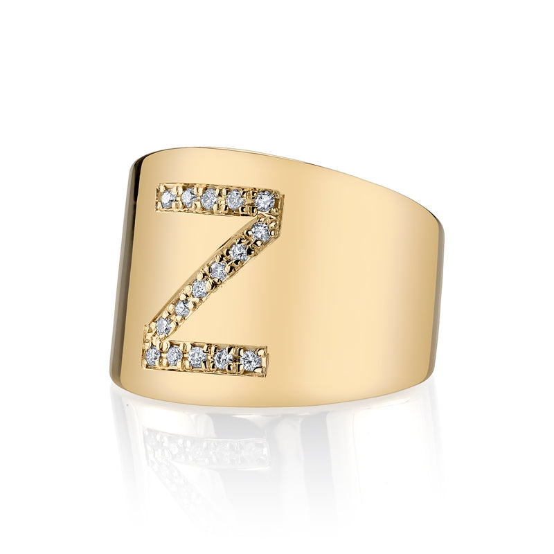 LANA CIGAR DIAMOND INITIAL SIGNET RING