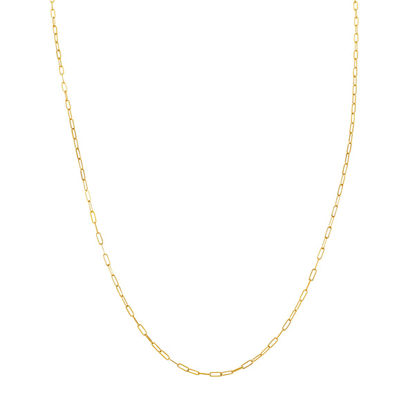 CHAINS: OPEN LINK PAPERCLIP CHAIN-14KT GOLD