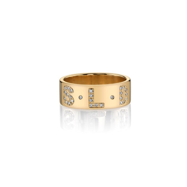 CIELA PAVE DIAMOND MULTI INITIAL RING