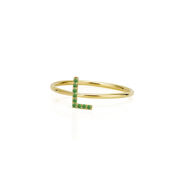 14KT STACKABLE AMELIA EMERALD INITIAL RING