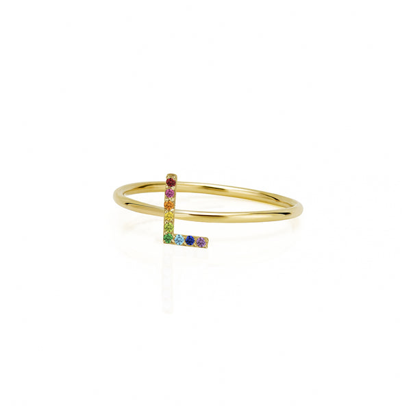 AMELIA STACKABLE RAINBOW INITIAL RING