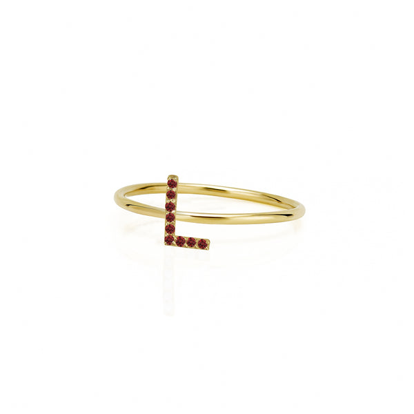 AMELIA STACKABLE RUBY INITIAL RING