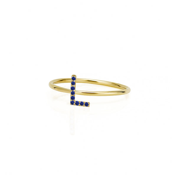 STACKABLE AMELIA SAPPHIRE INITIAL RING