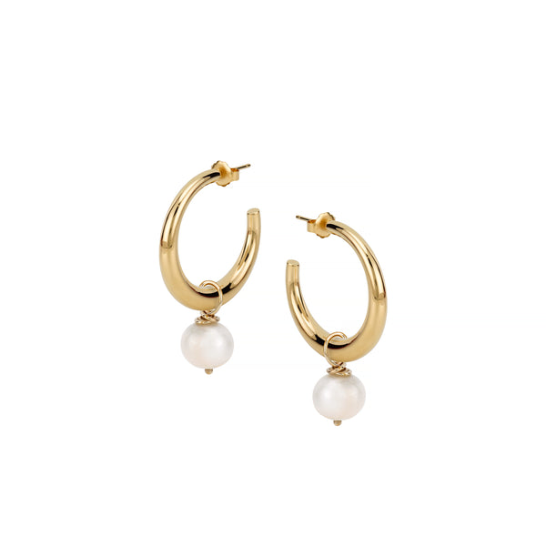 ELLE STRAUSS PEARL HOOP EARRINGS