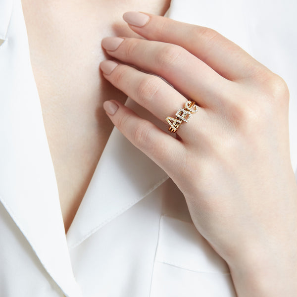 14KT STACKABLE AMELIA RAINBOW INITIAL RING