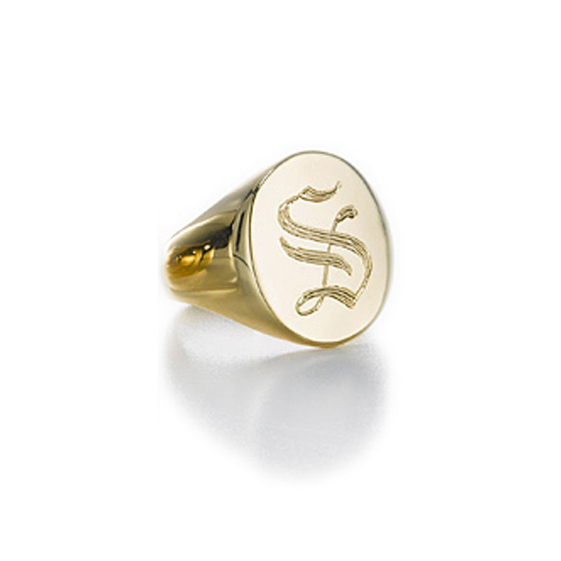LANA OVAL GOTHIC INITIAL SIGNET RING