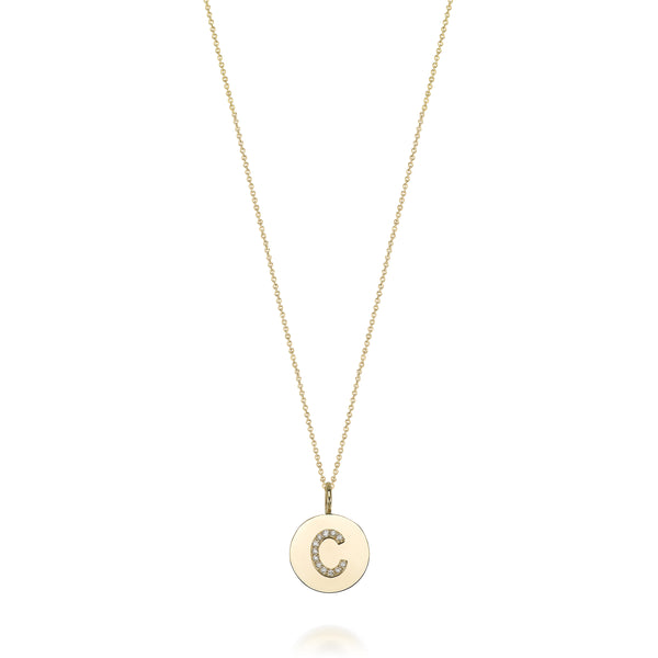 14KT KARI INITIAL DIAMOND MEDALLION NECKLACE