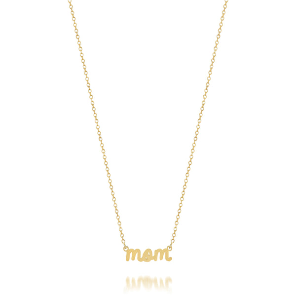 AVA DAINTY SCRIPT 'MOM' NECKLACE