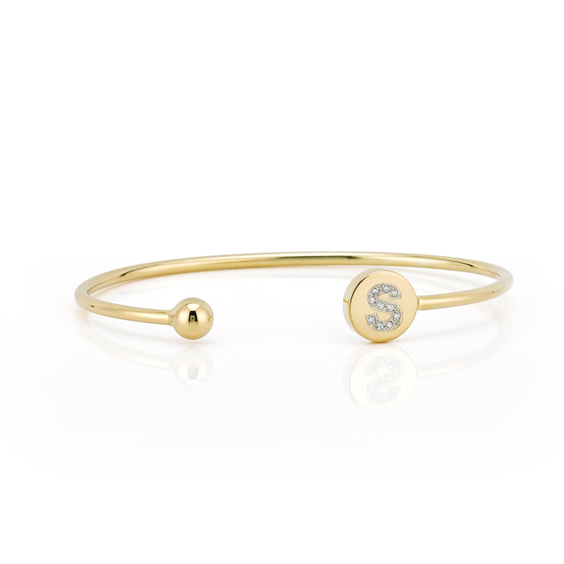 ELLE ROUND DIAMOND INITIAL BANGLE