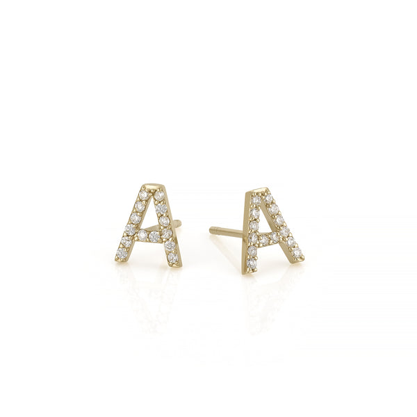 AMELIA DIAMOND INITIAL STUDS-PAIR