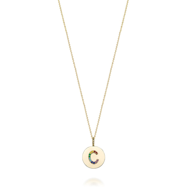 KARI INITIAL RAINBOW MEDALLION NECKLACE