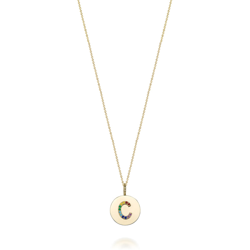 14KT KARI INITIAL RAINBOW MEDALLION NECKLACE
