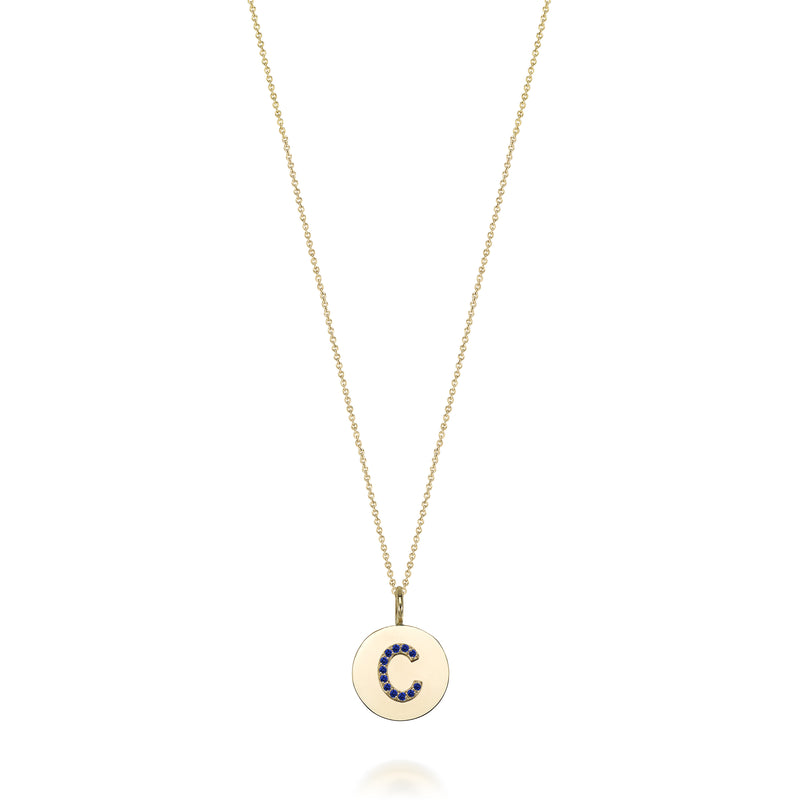 KARI INITIAL RUBY MEDALLION NECKLACE