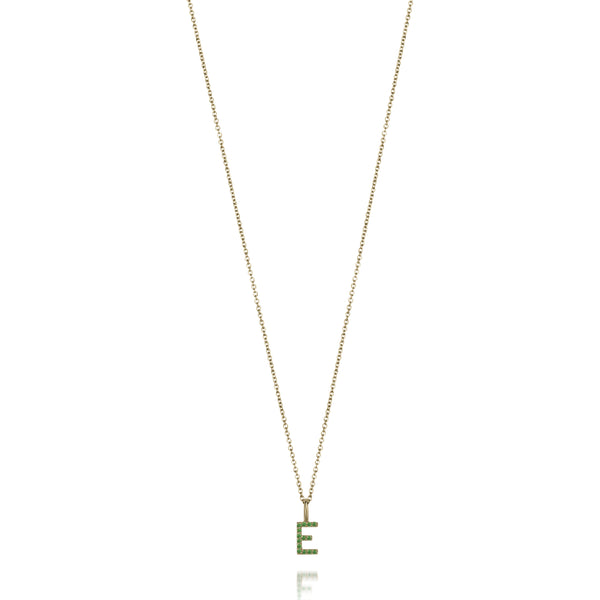 14KT AMELIA EMERALD INITIAL NECKLACE
