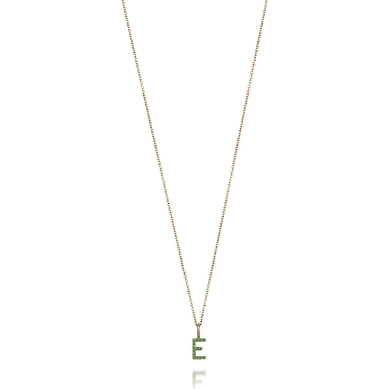 AMELIA EMERALD INITIAL NECKLACE