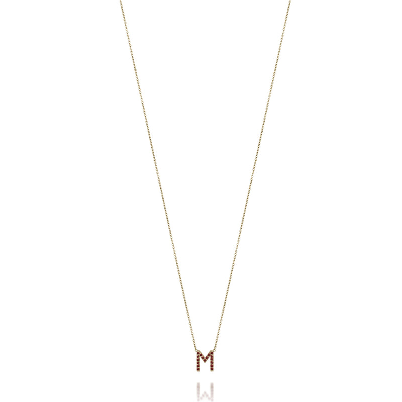 AMELIA RUBY INITIAL NECKLACE