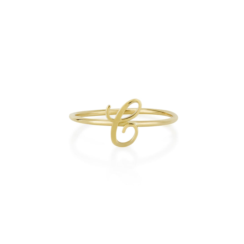 AMELIA SCRIPT INITIAL STACKABLE RING