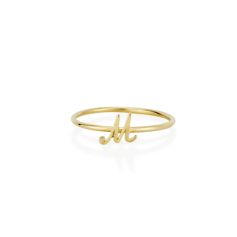 14KT AMELIA SCRIPT INITIAL STACKABLE RING