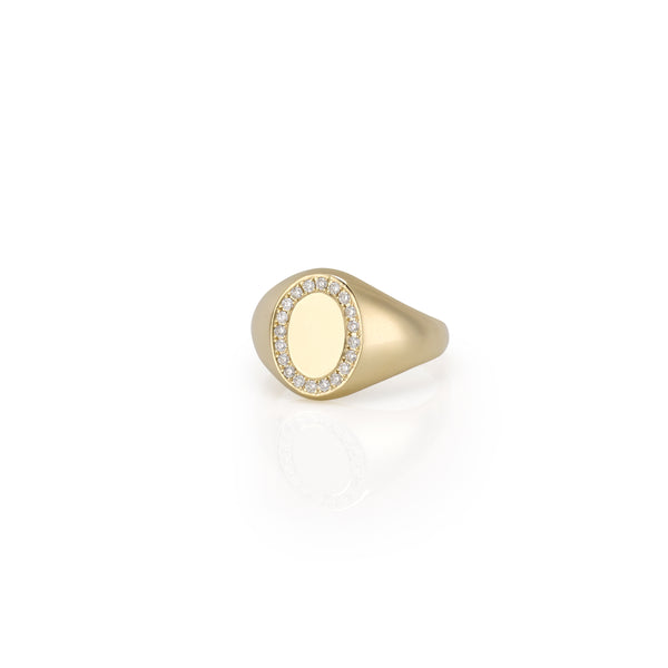 14KT SIMONA DIAMOND SIGNET RING