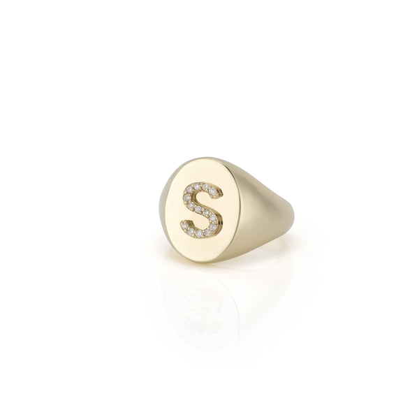 KARI DIAMOND INITIAL OVAL SIGNET RING