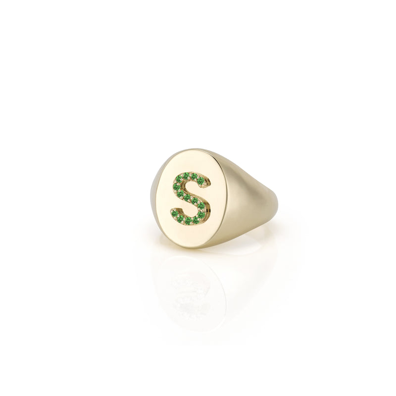 KARI RUBY INITIAL OVAL SIGNET RING