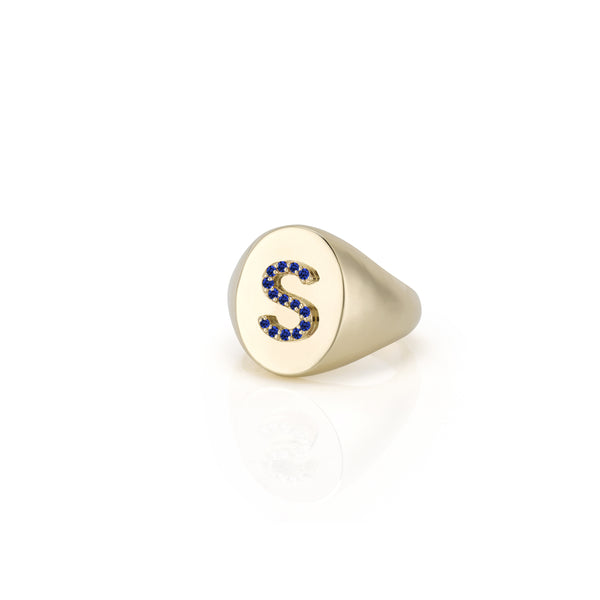 KARI SAPPHIRE INITIAL OVAL SIGNET RING