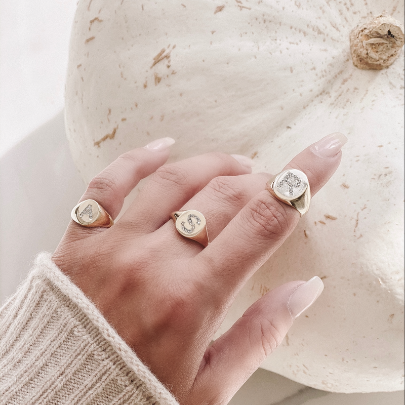 LANA PAVE DIAMOND INITIAL SIGNET RING