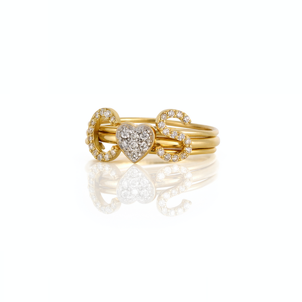 14KT STACKABLE AMELIA DIAMOND INITIAL RING