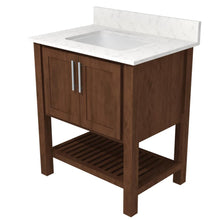 "Load image into Gallery viewer, Bertch Bath 30"" FVC30 Interlude Open Shelf Vanity in Walnut"