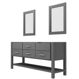 "Bertch Bath 72"" FVCDM72 Interlude Open Shelf Double Bowl Vanity in Graphite"