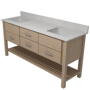 "Bertch Bath 72"" FVCDM72 Interlude Open Shelf Double Bowl Vanity in Quartersawn Oak Driftwood"