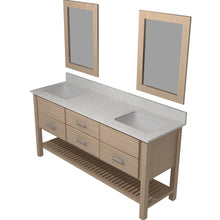 "Load image into Gallery viewer, Bertch Bath 72"" FVCDM72 Interlude Open Shelf Double Bowl Vanity in Quartersawn Oak Driftwood"