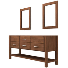 "Load image into Gallery viewer, Bertch Bath 72"" FVCDM72 Interlude Open Shelf Double Bowl Vanity in Mocha"