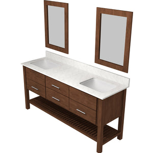 "Bertch Bath 72"" FVCDM72 Interlude Open Shelf Double Bowl Vanity in Mocha"