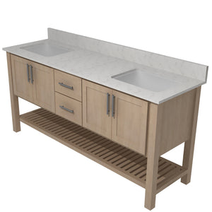 "Bertch Bath 72"" FVCM72 Interlude Open Shelf Double Bowl Vanity in Quartersawn Oak Driftwood"