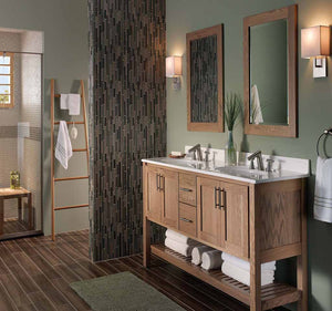 "Bertch 72"" Interlude Double Bowl 2 Drawer Vanity with Open Shelf in Driftwood"