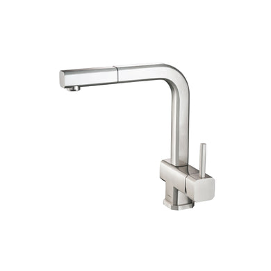 Isenberg K.1300SS   Kitchen Cito - Dual Spray Polished Steel Kitchen Faucet With Pull Out - Stainless Steel