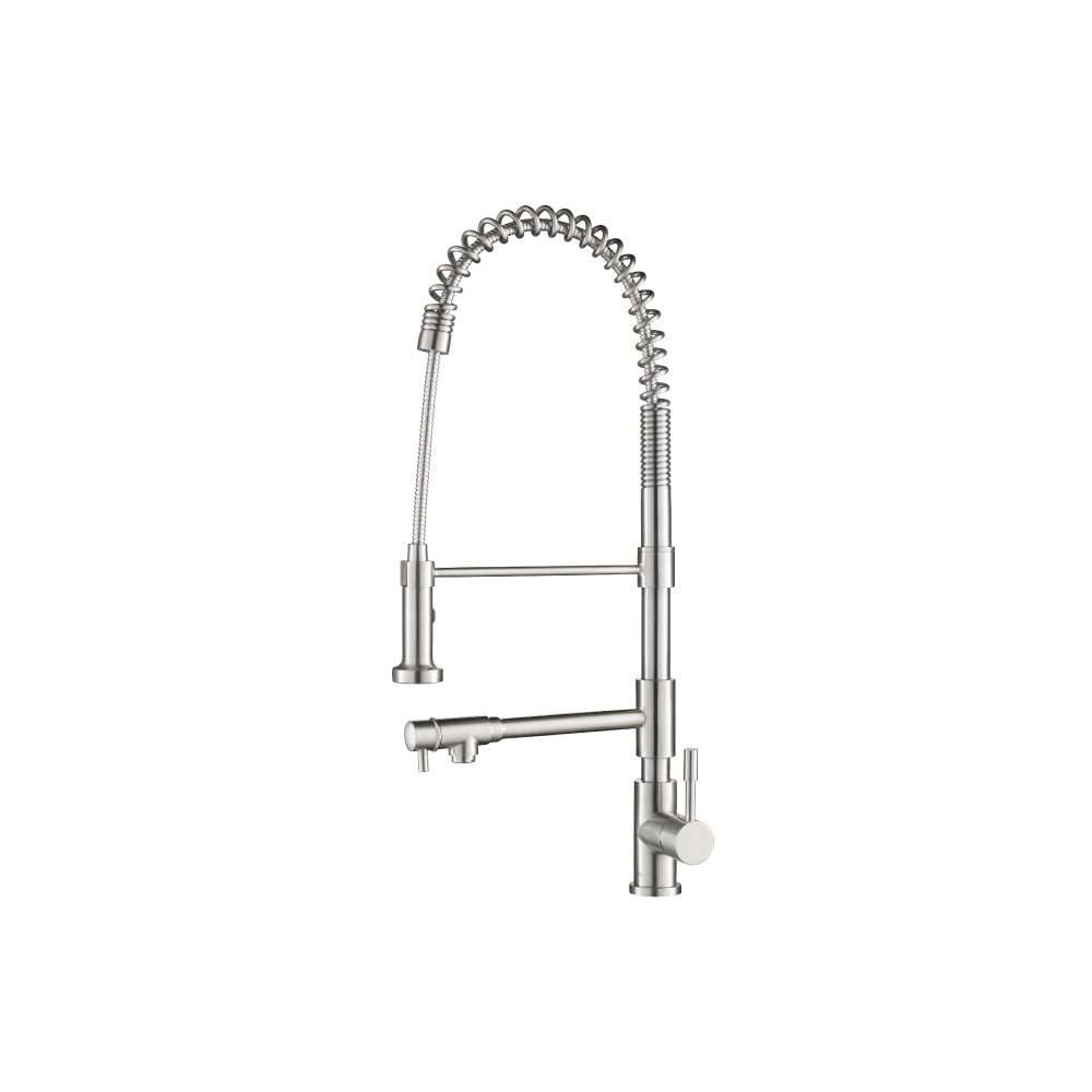 Isenberg K.2030SS   Kitchen Professio - F - Professional Stainless Steel Kitchen Faucet With Pull Out & Pot Filler - Stainless Steel