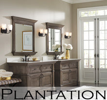 "Load image into Gallery viewer, Omega Dynasty Plantation 60"" Double Bowl Stacked Drawer Vanity in Porch Swing Finish"