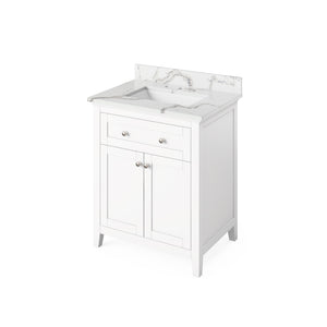 "Jeffrey Alexander 30"" White Chatham Vanity, Calacatta Vienna Quartz Vanity Top, Undermount Rectangle Bowl"