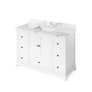 "Jeffrey Alexander 48"" White Addington Vanity, Calacatta Vienna Quartz Vanity Top, Undermount Rectangle Bowl"