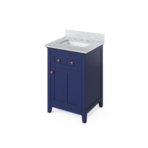 "Jeffrey Alexander 24"" Hale Blue Chatham Vanity, White Carrara Marble Vanity Top, Undermount Rectangle Bowl"