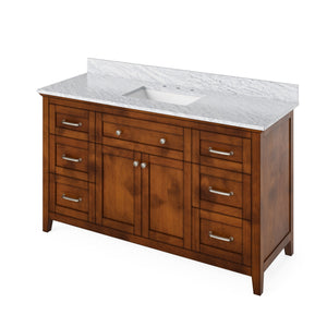 "Jeffrey Alexander 60"" Chocolate Chatham Vanity, White Carrara Marble Vanity Top, Undermount Rectangle Bowl"