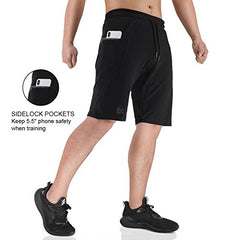 BROKIG Mens Sidelock Gym Workout Running Sport Shorts with Zipper Pockets (Medium, Black) - Birdly Canada