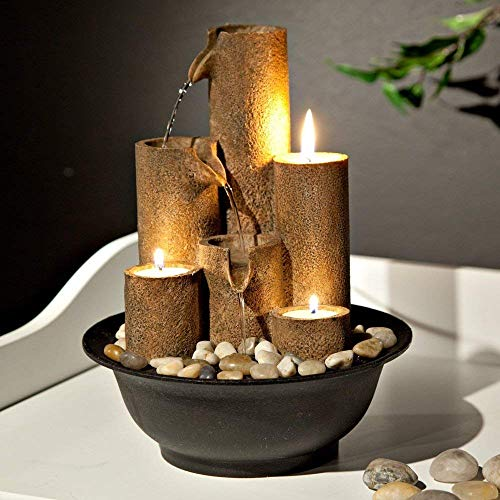 Alpine Tiered Column Tabletop Fountain w/ 3 Candles, 11 Inch Tall - Birdly Canada