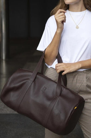 Timeless Leather Travel Bag - Brown Stone